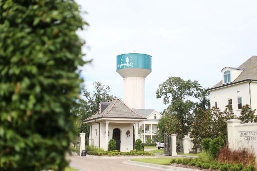 View of Water Tower with Boulevard Green gatehouse in foreground